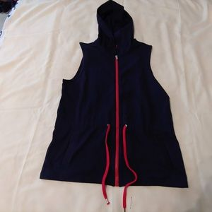 Womens Medium Chaps zip up vest hooded blue red